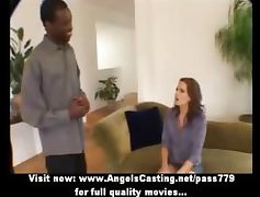 Amateur superb sexy redhead babe talking with a nigger guy