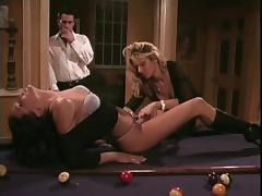 Babes play with a strap-on while being watched by a lucky guy
