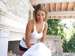 Massage babe August Ames with big tits fucked by rich guy