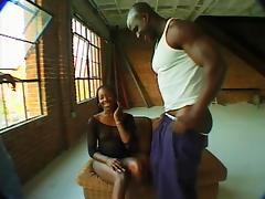 Alluring ebony giving big black cock superb blowjob