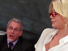 Mature principal gets lucky with an alluring blonde sex bomb porn tube video