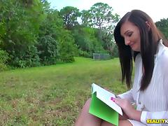 Book-reading babe is ready to take it from the behind in POV session porn tube video
