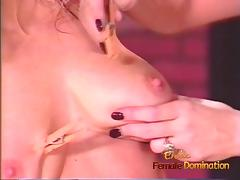 Lovely blonde tart enjoys whipping her busty and horny brune