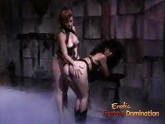 Slutty brunette hussy receives a proper spanking from her porn tube video