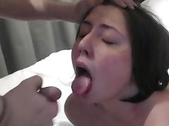 Cute chubby girl gets a mouth shot