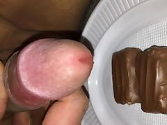 Cum on Ritter Sport and eating it porn tube video