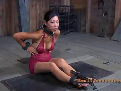 Asian girl called Tia Ling and her first BDSM adventure in the dungeon