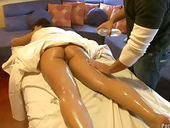 Oiled nice ass diva given massage then banged hardcore in reality porn