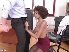 Ebony secretary gets a long dong inside her mouth and her cunt