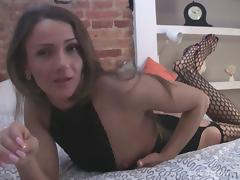 Thrilling babe in fishnet stockings going solo porn tube video