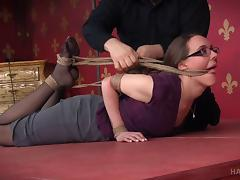 Nerdy submissive tied up harshly by her master