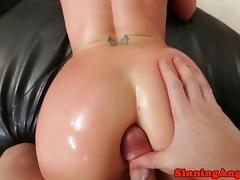 Cocksucking babe grinding cock between cheeks