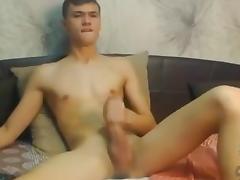 Very cute european boy cums super sexy ass big cock