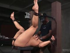 Hot babe with big tits Angel gets restrained and fucked hard