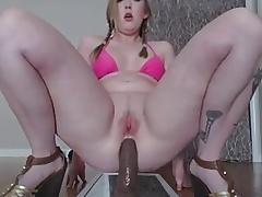 CHUBBY CHICK FUCKS DILDO porn tube video