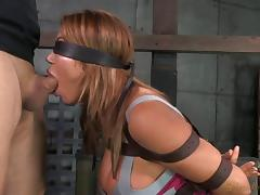 Masked tied bondage diva face fucked when tortured in BDSM porn tube video