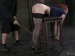 Redhead filly really loves being restrained with rope