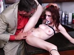 Intense kitchen anal hardcore with daddy by Anna De Ville