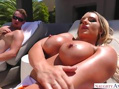 busty blonde needs me to oil up her ass