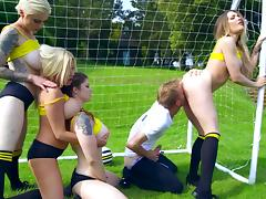 Dirty porn on the pitch with several cheerleaders tube porn video