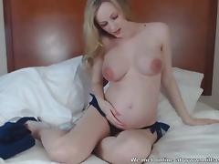 Gorgeous preggo blondie gives you a POV blowjob porn tube video