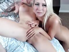 Blonde fingers her friend's ass