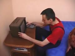 Busty granny fuck repairmen TV porn tube video