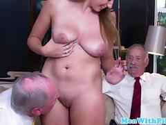 Busty babe fucked and licked by geriatric porn tube video