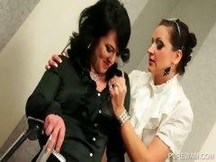 Dyke mistress punishes WAM slave