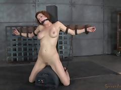 Redhead big tits slave getting face fucking in BDSM torture porn tube video