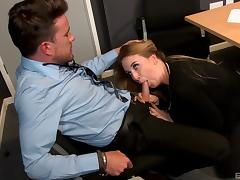 Secretary makes her boss happy by sucking and riding his boner