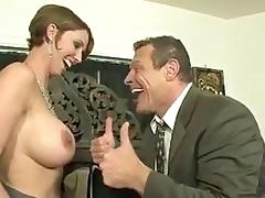 Busty slut goes to horny stud room to suck his tool