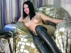 Evikoblack: naked brunette sitting in a chair