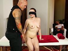 Big tattoed fellow fucks a blindfolded babe in front of her man porn tube video