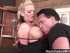 Blonde milf loves to get her ass full of cum