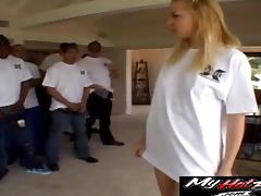 Blowjob gang bang leaves a blonde slut drenched in cum tube porn video
