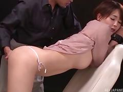 Massaging her pussy and filling her ass with a toy makes her pleased porn tube video