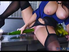 Big Tits get Fucked in the kitchen porn tube video