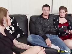 Hot MILF gives a sensual blowjob after undressing a big dick guy