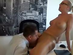 Sexy blonde secretary stripping in office and getting fucked roughly by her boss