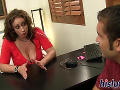 Horny office slut Eva was down on her knees pleasuring a massive shaft orally