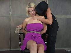 Lady in a purple dress treated like a bad girl that she is porn tube video