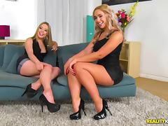 Insatiable blondes are in need of a couple of hot fellows' fat dick