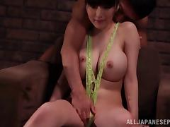 Juicy Japanese slut riding a dildo while giving head porn tube video