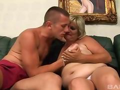 Blonde cougar has a blast while being drilled by a hot fellow