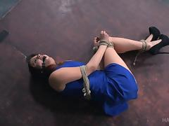 Gagged naked woman will endure any kind of kinky games