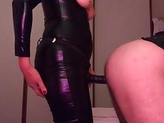 Pegging in catsuit tube porn video