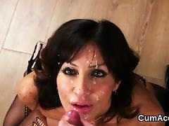 Spicy idol gets cum shot on her face swallowing all the load porn tube video