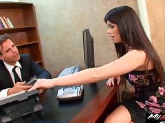 Pretty secretary seduced into banging the boss' long boner