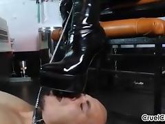 Canine Slave Worships Isobel's Shiny Leather Boots! porn tube video